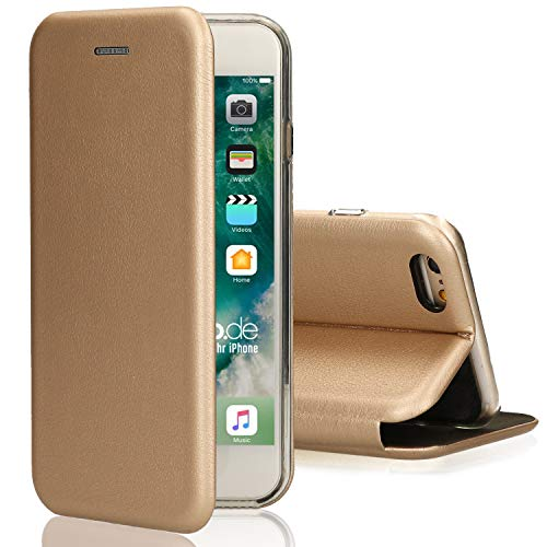 Ray Oklay Deluxe Leder Flip-Case Hülle iPhone 5 / 5s / SE mit Magnetverschluss und Standfunktion Cover [Gold]