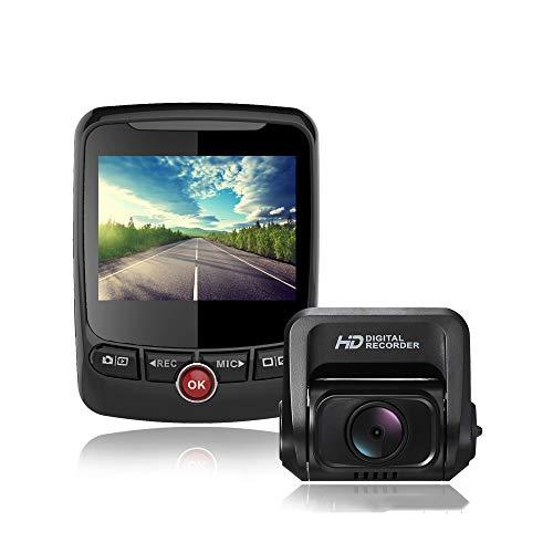 KASIQIWA Dual Lens Car Dash CAM, 170 º Gran Angular 4K 1080P grabadora de conducción con GPS G-Sensor desviación de Carril y detección de Movimiento de Advertencia de Fatiga