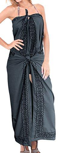 morbido rayon beachwear ricamato bagno dello swimwear costume da coprire bikini sarong grigio | US: 26W (2X) / UK: 28