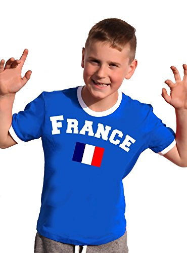 Frankreich T-Shirt Kinder Ringer Blau, 128