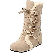 Bottes de Neige Femmes, Manadlian Chaussures Bottines Plates Fourrées Boots  À Lacets pour Femmes Bottes 9f2e69f58d27