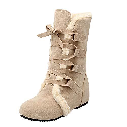 Bottes de Neige Femmes, Manadlian Chaussures Bottines Plates Fourrées Boots À Lacets pour Femmes Bottes en Coton Suédé 2018