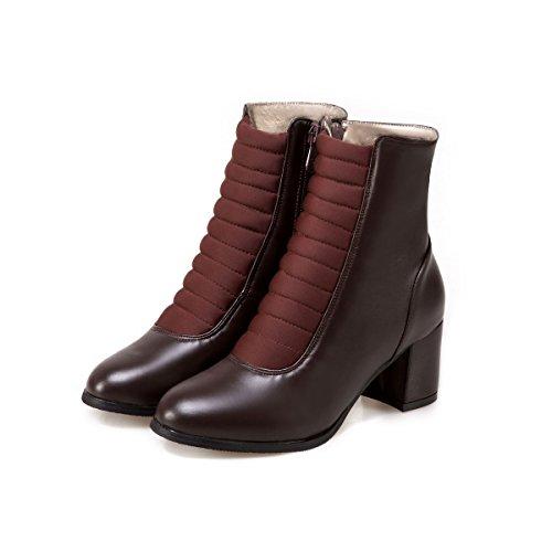 QIN&X Le donne del blocco tacco tacchi testa rotonda breve caviglia stivali scarpe Brown