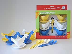 "Frühstücks-Set ""Eierbecher Huhn"" 6 Eierbecher und 6 Eierlöffel je 2 x blau, 2 x weiß, 2 x gelb im Geschenk-Set DDR Eierbecher"