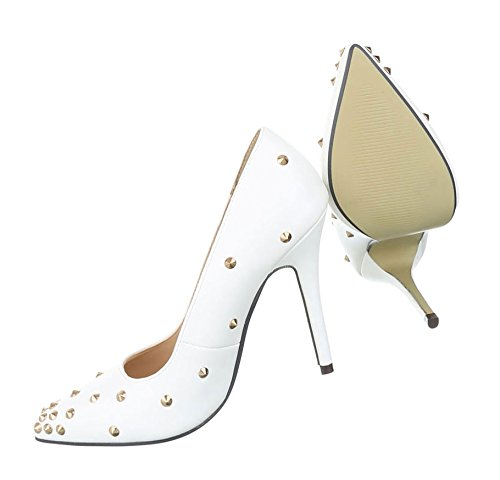 Damen Pumps Schuhe Elegant High Heels Nieten Besetzte High Heels Weiß