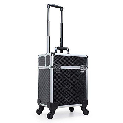 AUFUN Trolley Schminkkoffer Kosmetikkoffer Groß Beauty Case Multikoffer mit räder für Gepäck, Nagelstudio - Schwarz -