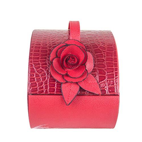 JESSIEKERVIN YY3 Exquisite halbrunde tragbare Desktop PU Kosmetik Collection Box Red (Color : Red)
