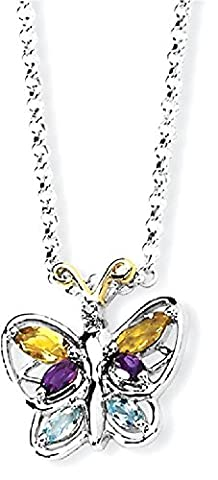 IceCarats 925 Sterling Silver 14k Citrine/amethyst/blue Topaz Butterfly Chain Necklace Gemstone