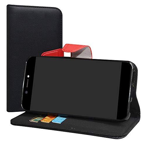 LiuShan Archos Core 50 Hülle, Brieftasche Handyhülle Schutzhülle PU Leder mit Kartenfächer und Standfunktion für Archos Core 50 Smartphone (mit 4in1 Geschenk verpackt),Schwarz