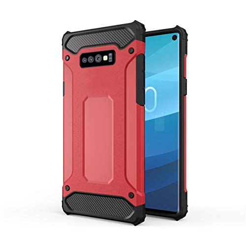 Forhouse Hülle Durable Protective Case Hülle, Thin Anti-Scratch Skin Back Hülle Full Cover für Samsung Galaxy S10 Lite - Red