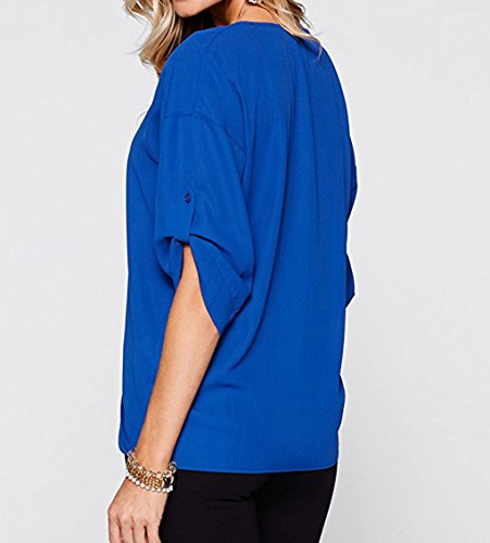 Rangeyes Donne Sweatshirt Jumper Pullover Chiffon Bluse Casuali Mezza Manica con Scollo V Camicie Maglietta Tops Blu