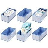 mDesign Set da 6 contenitori in plastica portagiochi - Ideali come scatole per giocattoli, pannolini o salviettine - Portagiochi in polipropilene - azzurro