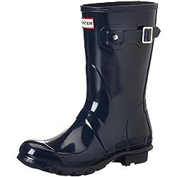 Hunter Original Short Gloss Wellington Boots - Botas de Caucho para Mujer, Azul (Navy), 38 EU