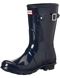 Hunter Original Short Gloss Wellington Boots - Botas de Caucho para mujer, color azul, talla