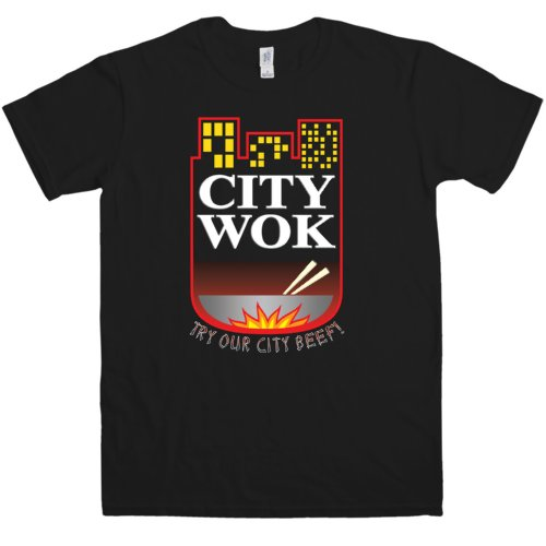 Refugeek Tees - Herren City Wok T Shirt - Medium - Black -