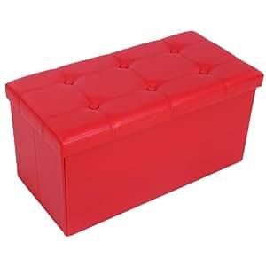 Songmics 76 x 38 x 38 cm Pouf Poggiapiedi Sgabello Pieghevole Carico Max. 300 kg Rosso LSF40R