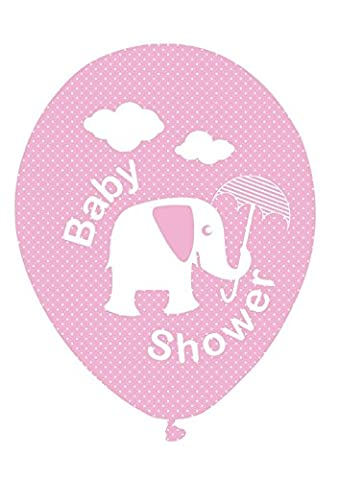 Baby Pink Elephant and Umbrella Baby Shower Balloons - Ideal for a baby girl's shower, Perfect for decorating your special day, Coordinate with other Pink, elephant decorations (Pack of 8)