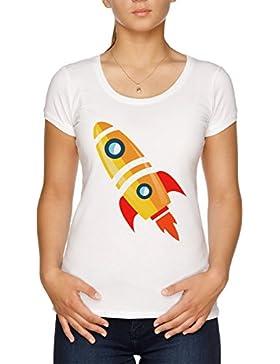 Vendax Dibujos Animados Lanzamiento Cohete Camiseta Mujer Blanco