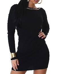 JELA London Damen Strickkleid Feinstrick Kleid Lonpulli Pullover V-Ausschnitt Langarm Farbig Größe 36 38 40