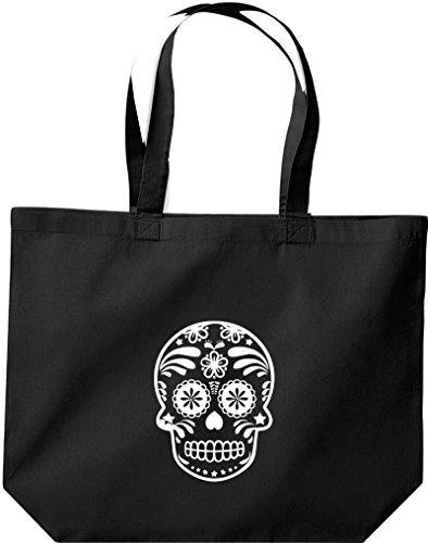 JUTE große Einkaufstasche, Skull Totenkopf, Schwarz
