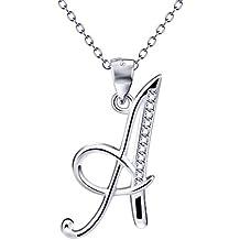 """Silver Mountain Argento 925 Zirconia di alfabeto della lettera iniziale Pendente Collana , 18 """""""
