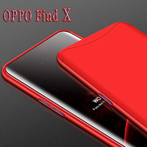 ZSCHAO Oppo Find X Hülle Oppo Find X 360 Grad Hülle Ultra Slim Case Dünn stossfest handyhülle 3 in 1 Hardcase +[Panzerglas] Hybrid Case Matt Hülle Schutzhülle Cover für Oppo Find X (2018)(Rot)