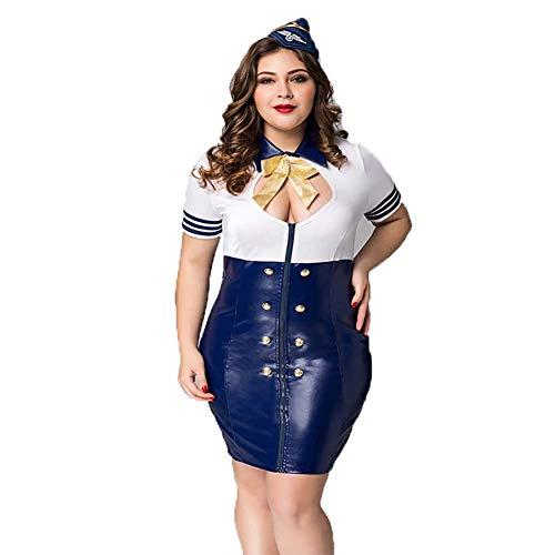 JOJO STYLE Große Size Air Hostess Rolle Spielen Sexy Four-Stücke Suit Uniform Plus Size Pajamas Underwear Nightwear für Bed Game Party Nightclubs sind für 75-85 kg Frauen geeignet (Plus Fisch-netz Dessous)