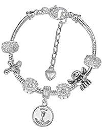 00fa41df0a Charm Buddy Girls Silver prima comunione fascino braccialetto set regalo