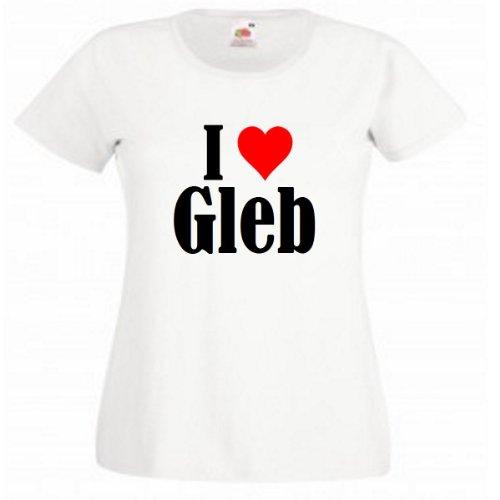 """T-Shirt """"I Love Gleb"""" für Damen Herren und Kinder in Weiß Weiß"""