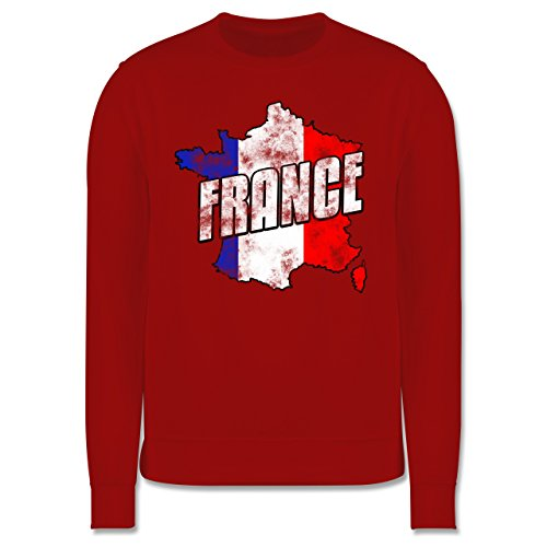 EM 2016 - Frankreich - France Umriss Vintage - Herren Premium Pullover Rot