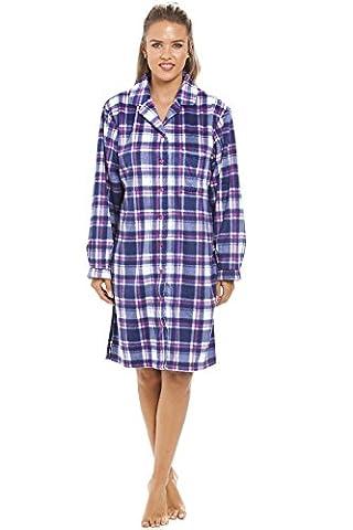 Camille - Nachthemd aus Fleece mit Knopfleiste vorn - Karomuster in Blau & Violett 36/38