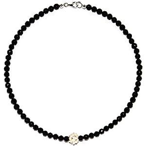 Onyx Halskette mit Ball aus Süßwasserperlen Verschluss 925er Sterling-Silber Nr. 2151H