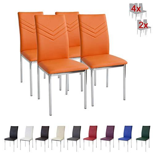 Albatros 2946 Verona Set de 4 sillas de Comedor, Naranja
