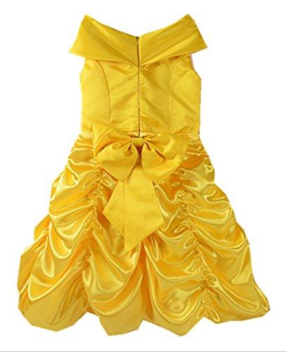 Mädchen Karneval Halloween Cosplay Fasching Kostüme Belle Kleid (Für Belle Kinder Kostüm Halloween)