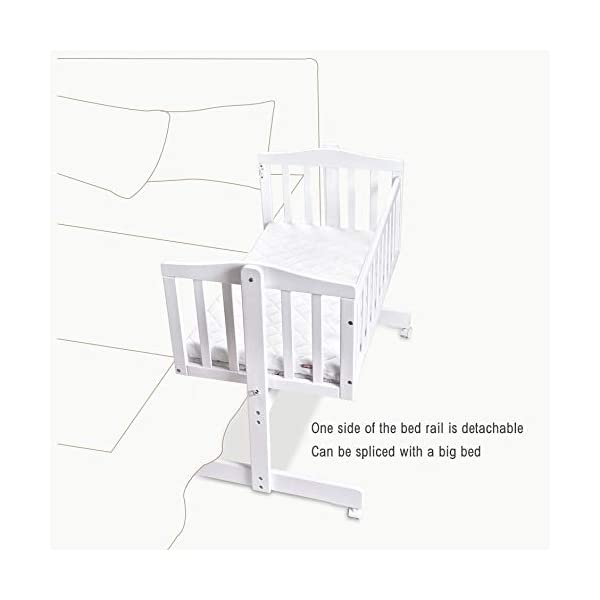 RUNQIAN Swinging Crib, Deluxe Multifunction Gliding Crib White RUNQIAN Create a relaxing sleeping area for your precious child and feel like you are swaying in your arms Suitable from birth to 6 months Simple locking device for easy locking in the rest position 7