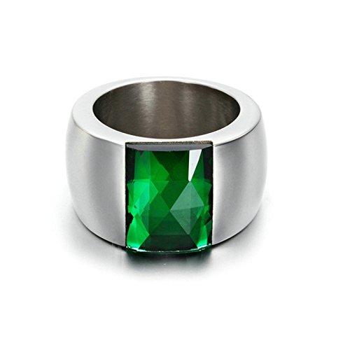 Ringu Kostüm (Adisaer Ring Edelstahl Damen Rechteck Zirkonia Hohe Poliert Strass Ringe Grün Größe 54 (17.2))