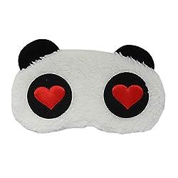 Plush Love Bear Design Sleep Eye Mask - White - Fancy Sleeping Eye masks for Travel