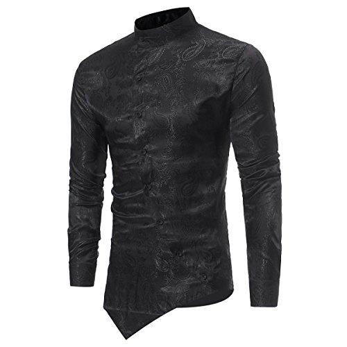 Camisas de Vestir Casual para Hombre Camisas Steampunk Blancas y Negras de Vino Negro Camisa de Manga...