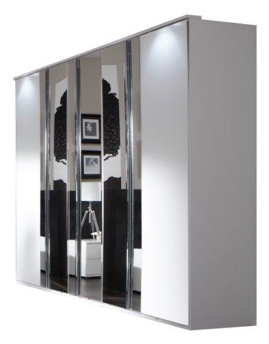 Wimex 734566 Kleiderschrank 225 x 210 x 58 cm mit 3 Spiegeltüren, Front und Korpus alpinweiß / Aufleistungen chrom glänzend