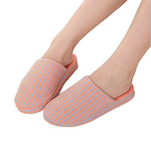 Meijunter Slittamento Strisce Cotone Casa Pistoni Scarpe Calda Dell'interno Arancione Di rrdn7Rq