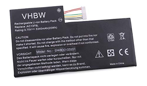 vhbw Batterie 5340mAh (3.7V) pour Netbook Pad Tablette Acer Iconia Tab A1-A810 Tablet remplace AC13F3L, AC13F8L.