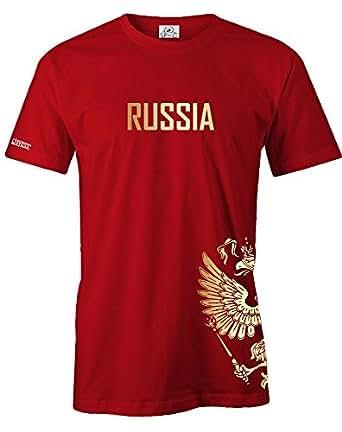 RUSSLAND - RUSSIA - GOLD - FANSHIRT - HERREN - T-SHIRT in Rot by Jayess Gr. S
