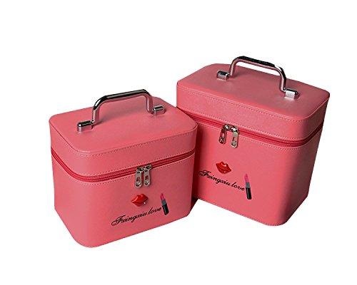 Zwei Sätze Von Kosmetiktüten Große Kapazität Tragbare Wasserdichte Stereotypen Kosmetik Fall Professionelle Schöne Make-up Tasche Pink