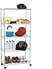 Seville Classics 5-Tier Steel Wire Shelving with Wheels, Plated Steel