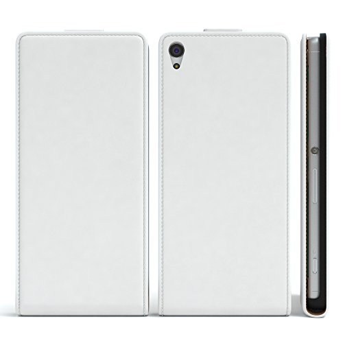 Sony Xperia XA Hülle - EAZY CASE Premium Flip Case Handyhülle - Schutzhülle aus Leder in Lila Weiß (Flip)