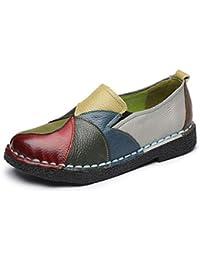 Socofy Damen Mokassins, Slippers Espadrilles Flache Loafers Bootsschuhe Hausschuhe Halbschuhe Freizeit Leder Ultra Bequem Slip-On(Hersteller-Größentabelle IM Bild Beachten)