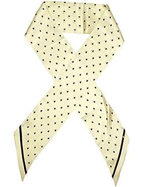 Bees Knees Fashion - Bufanda - Beige Negro Impreso Doble Capa De Lazo Largo De Seda Bufanda