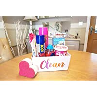 Personalised Cleaning Storage Box, White & Rose Gold, Mrs Hinch Inspired, Cleaning Caddy For Bathroom, Kitchen, Laundry And More