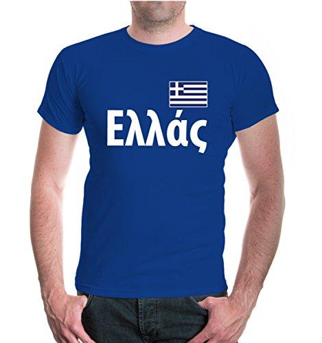buXsbaum® Herren Unisex Kurzarm T-Shirt bedruckt Griechenland   Ländershirt Fanshirt Flagge   M royal- Blau