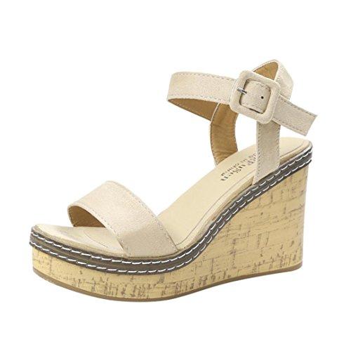 Beauty-luo sandali donna con tacco sandali open toe sexy con zeppa in pizzo da donna, scarpe col tacco alto da donna, sandali donna eleganti (36, beige)